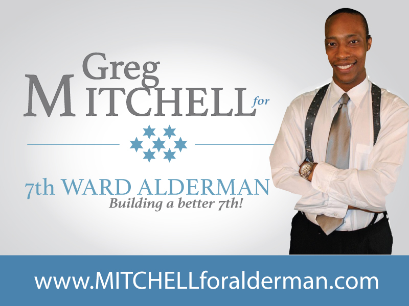 greg mitchell campaign postcard designed by LaTaevia Berry