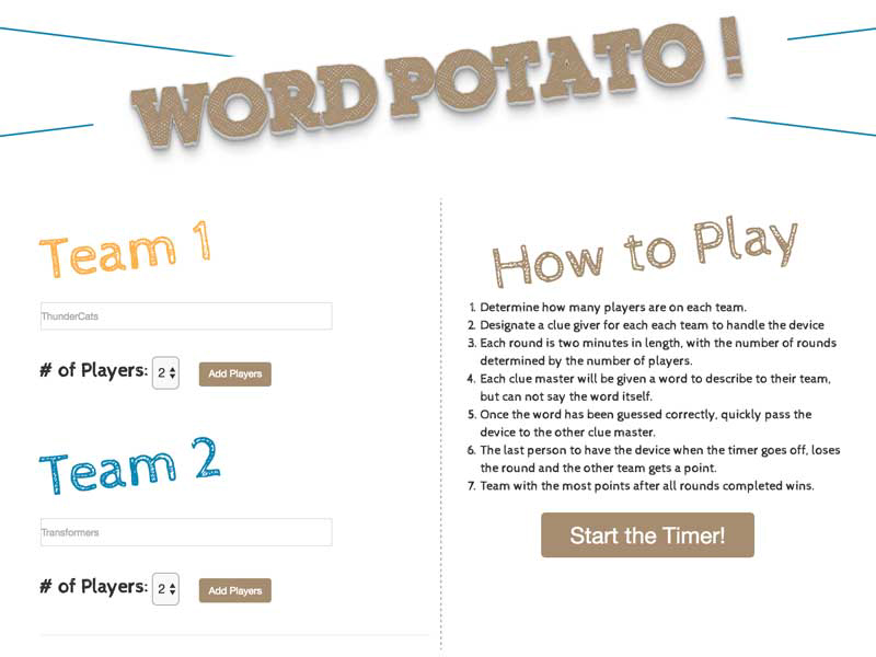 Word potato game home page by lataevia berry